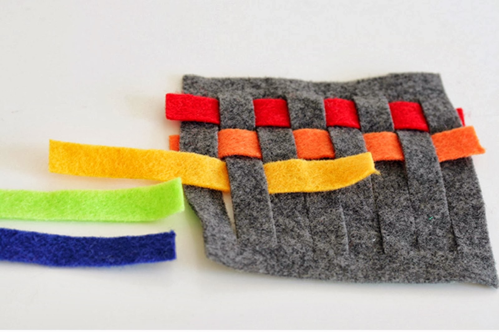 DIY rainbow woven felt coasters