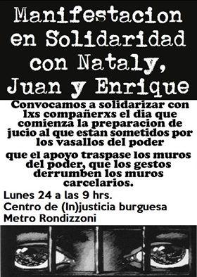 SANTIAGO: MANIFESTACIÓN EN SOLIDARIDAD CON NATALY, JUAN Y ENRIQUE