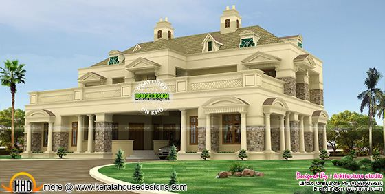 Luxury pillar type  slope roof colonial home