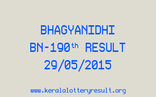 BHAGYANIDHI BN 190 Lottery Result 29-5-2015