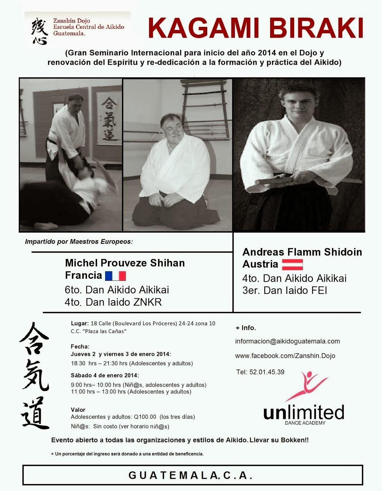 Afiche 11vo. Seminario Zanshin Dojo Aikido Guatemala
