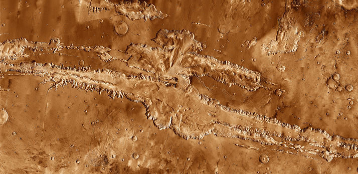 Valles Marineris in mosaic of THEMIS infrared images from 2001 Mars Odyssey. Credit: NASA / JPL-Caltech / Arizona State University