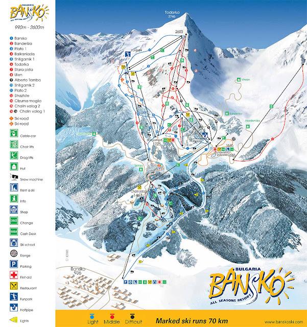 Bansko Kayak Pistleri Haritası