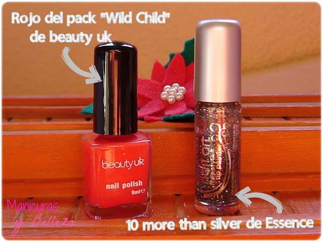 christmas nail art nails manicura navideña uñas navidad rojo rojas líneas glitter Essence freestyle and tip painter 10 more than silver beauty uk wild child red