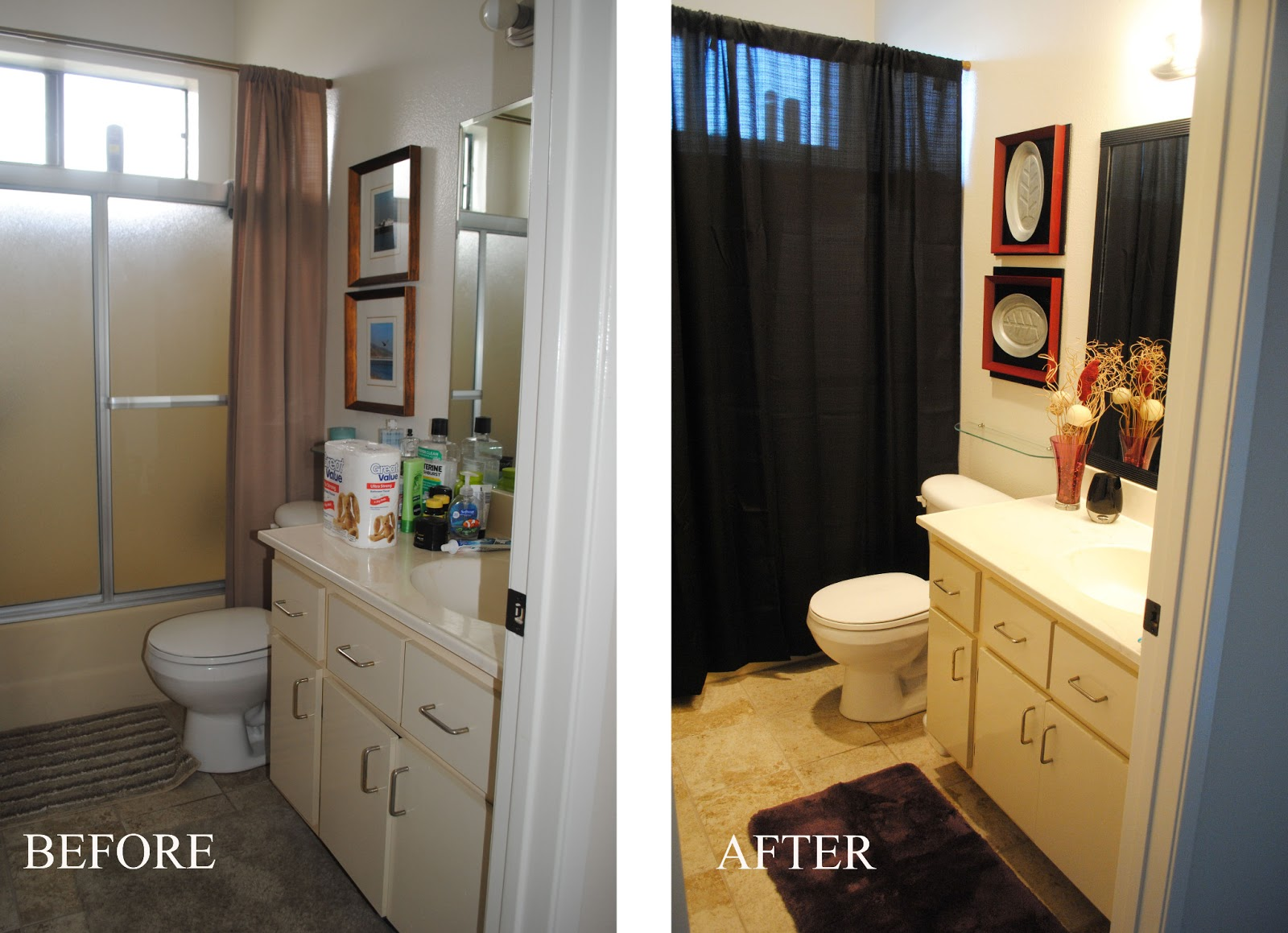 One Day At A Time Revamped Bathroom Project Mirror Makeover - Bathroom in a day