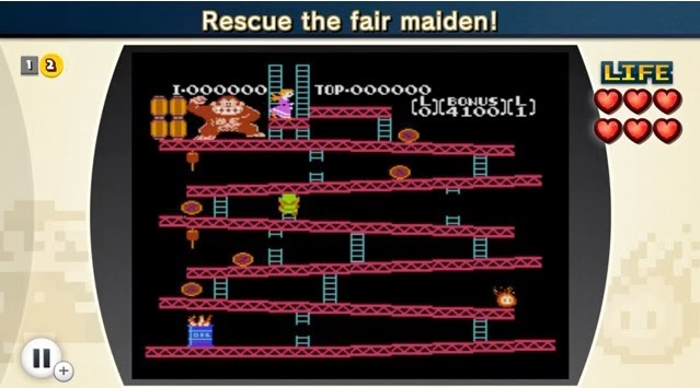 Screenshot of Wii U eShop game NES Remix with gamer playing as Link in Donkey Kong