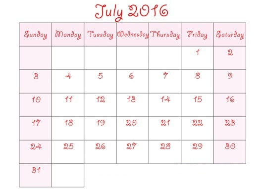 July 2016 Printable Calendar Cute, July 2016 Calendar with Holidays Free, July 2016 Calendar Word Excel PDF Template, July 2016 Blank Calendar Templates Download Free