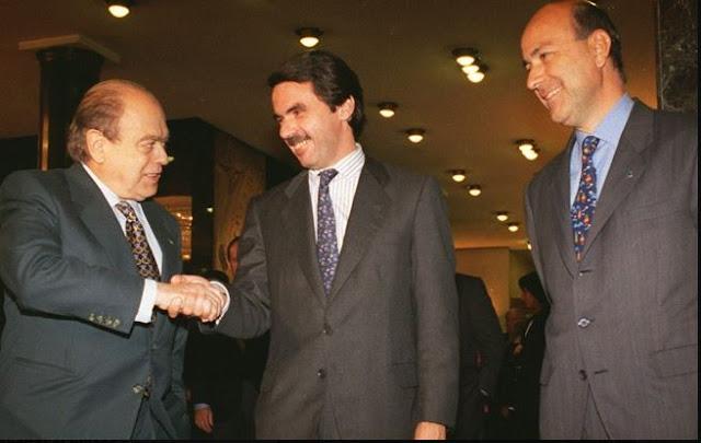 Pujol, Aznar i Duran el 1996 a l'hotel Majestic. Foto: F. MELCION