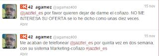 Tuit denunciando a Jazttel por aplicar métodos de outbount marketing