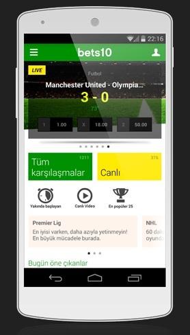 Android Canlı Bahis Uygulaması - Uygulama Görüntüleri İçin Tıklayı