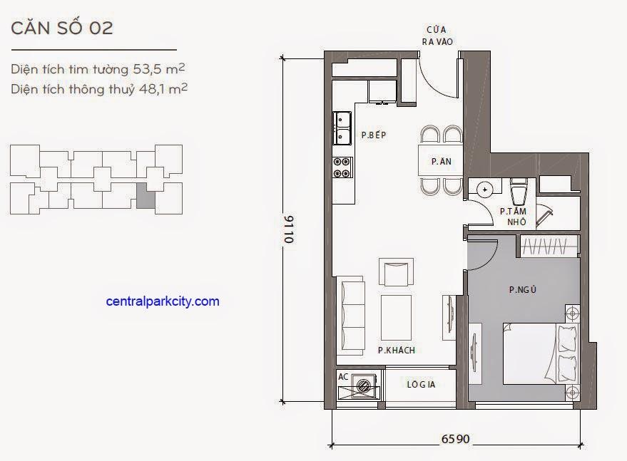 Căn hộ Landmark 2 & 3 - kiểu nhà số 02 - 53.5m2 - 1PN