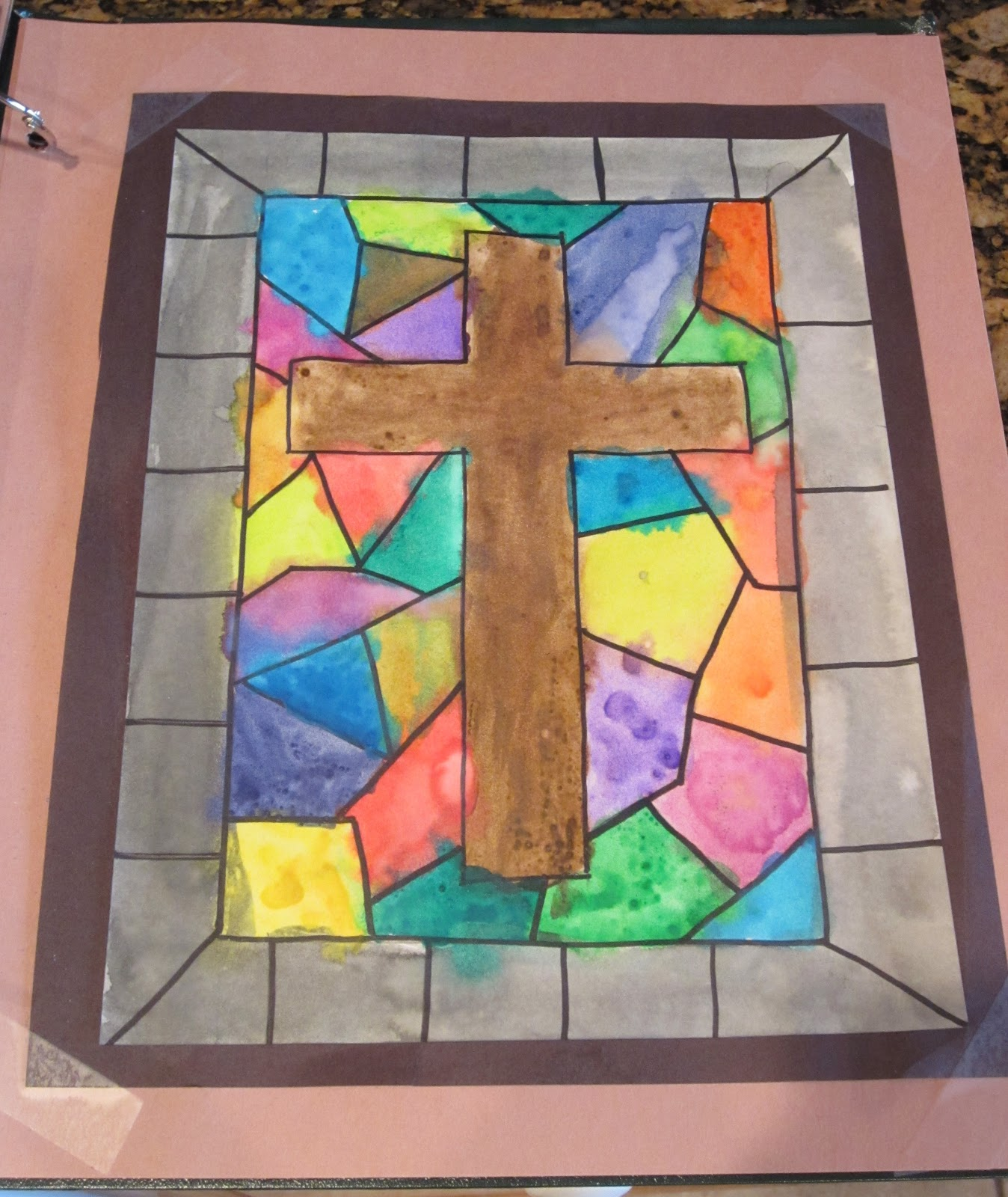 Teaching with tlc easter cross art project for Projects with glass