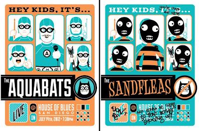 San Diego Comic-Con 2012 Exclusive The Aquabats Screen Prints by Dave Perillo - Regular Edition & The Sandfleas Variant Edition