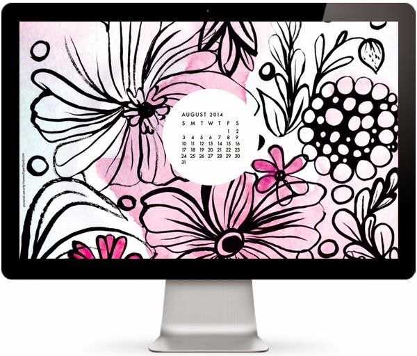 August 2014 desktop wallpaper, August 2014 calendar modern flowers desktop wallpaper by papersquid.com