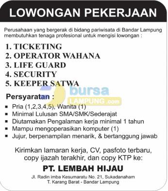 Bursa Kerja Lampung PT. Lembah Hijau