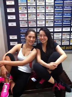 Trisha Sebastian and Jerosa Lim in Fitness First