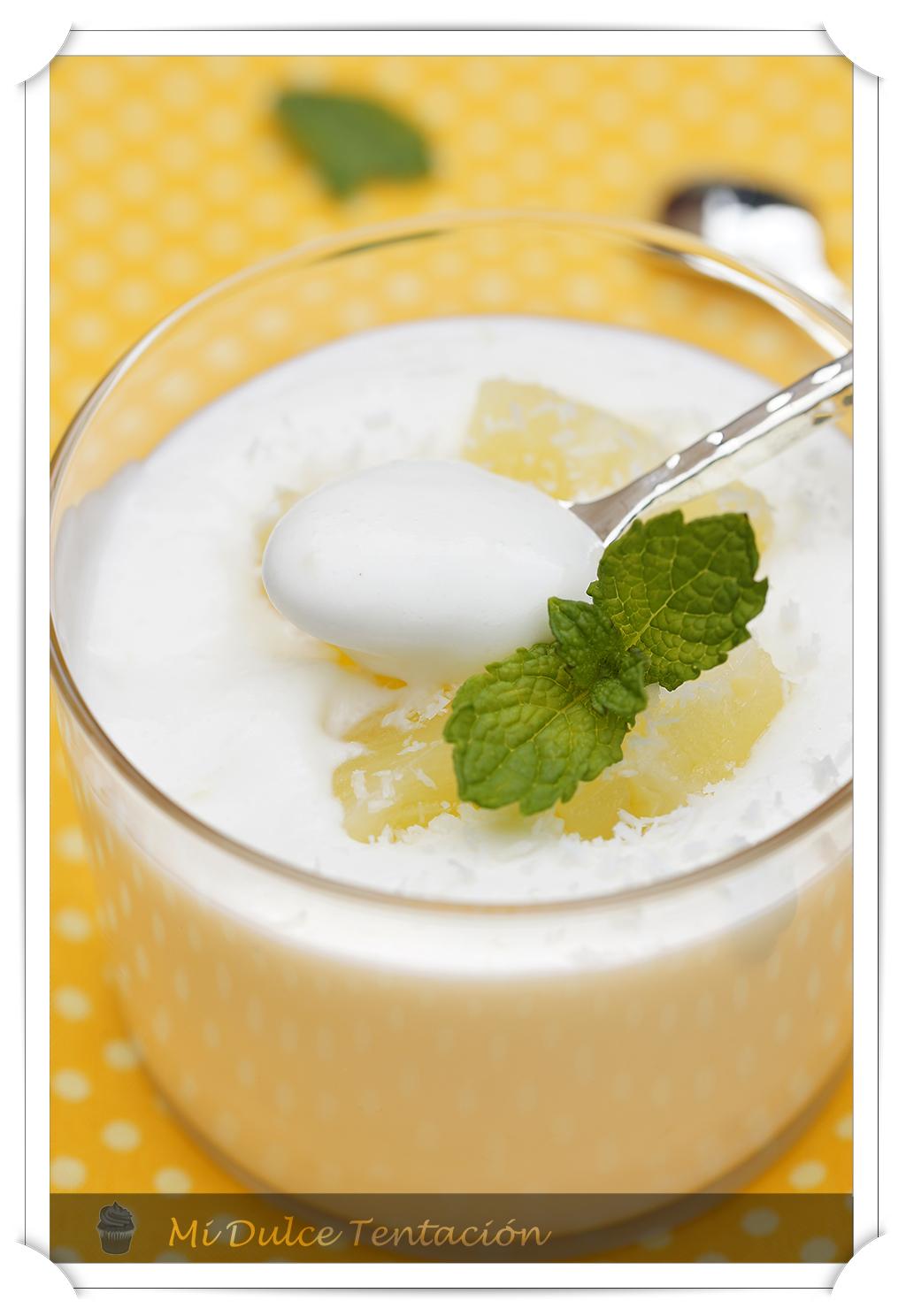 Mi dulce tentaci n mousse de yoghourt con pi a y coco - Mouse de yogurt ...