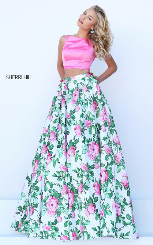 2016 sexy prom gown 2016 sherri hill floral printed queen