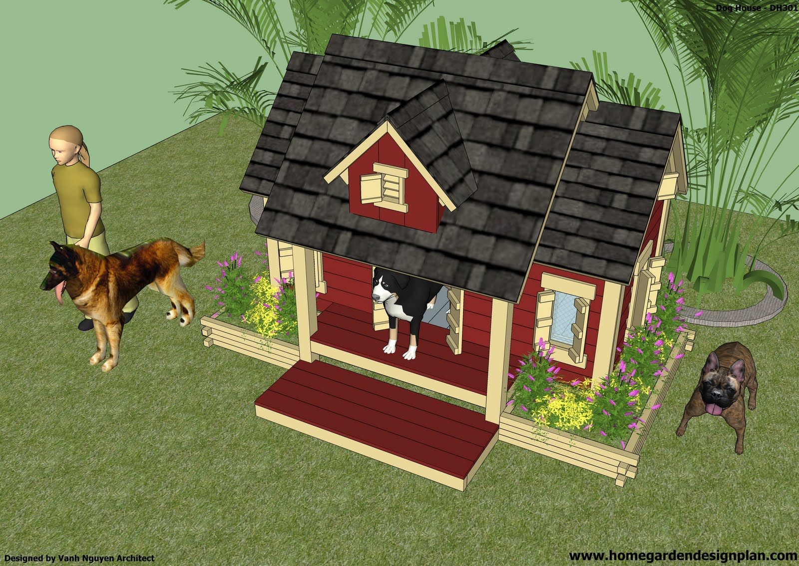 home garden plans dh301 dog house plans how to build an insulated dog house free dog. Black Bedroom Furniture Sets. Home Design Ideas