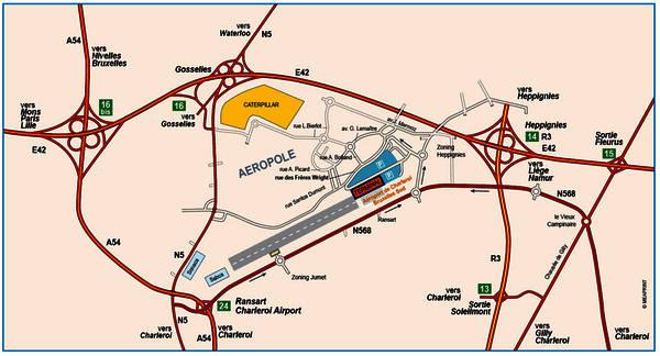 Mapa del Aeropuerto de Charleroi