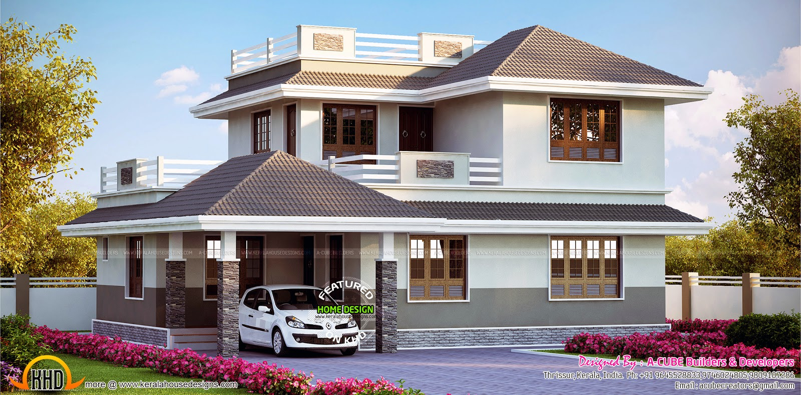 Beautiful european style modern house keralahousedesigns for Model house design 2016