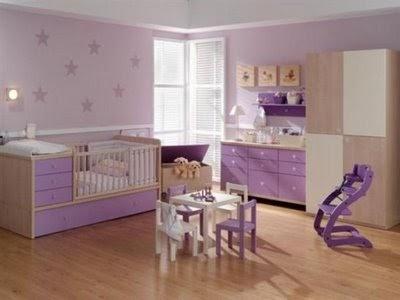 Cama cuna violeta dormitorio infantil for Decoracion para habitacion de bebe nina
