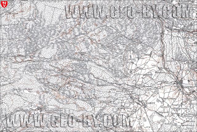 Фрагмент польской карты WIG, 1926 года, квадрат A33 B43 IWIENIEC с железной дорогой