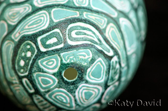 "©Katy David ""Artifact"" Etched Emu eggshell, green and white"