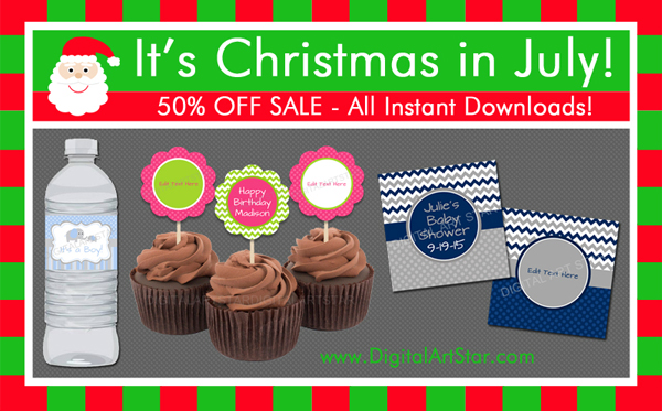 Christmas in July Sale - All instant download party decorations are 50% off.  Visit DigitalArtStar.com & DigitalArtStar.etsy.com to shop my great selection.