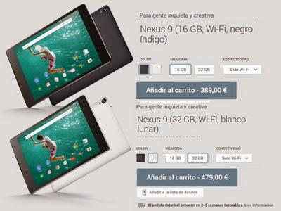 Los dos colores del Nexus 9 y sus diferentes versiones.