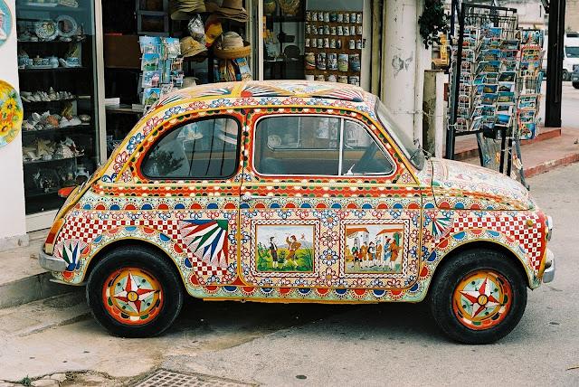 Fiat 500, Carretta style, Selenunte, Sicily, folk art