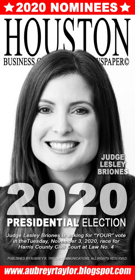 Judge Lesley Briones Values Your Vote, Prayers, and Support on Tuesday, November 3, 2020