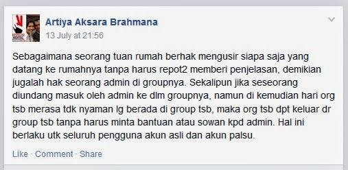 """Admin Group Facebook """"Calon Bupati Karo"""" yang Menindak member semena-mena"""