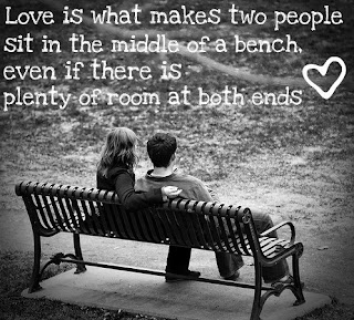 couple sit in bench Love Quote and Saying