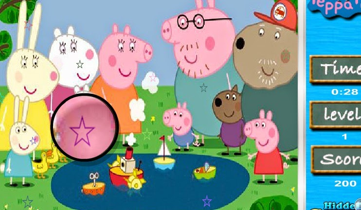 Peppa pig game games fun free hidden stars jigsaw puzzle