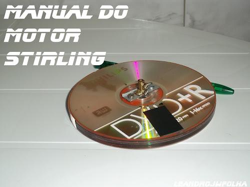 Manual do motor Stirling, 4 CDs usado como volante do motor Stirling