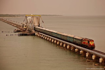 pamban bridge train crossing