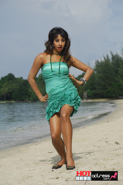 jvr 3166. Telugu Actress Sanjana Beach Hot Stills