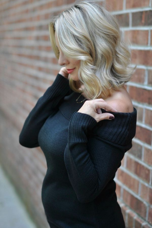 Off the shoulder black sweater, maternity style, dressing the bump at 15 weeks pregnant