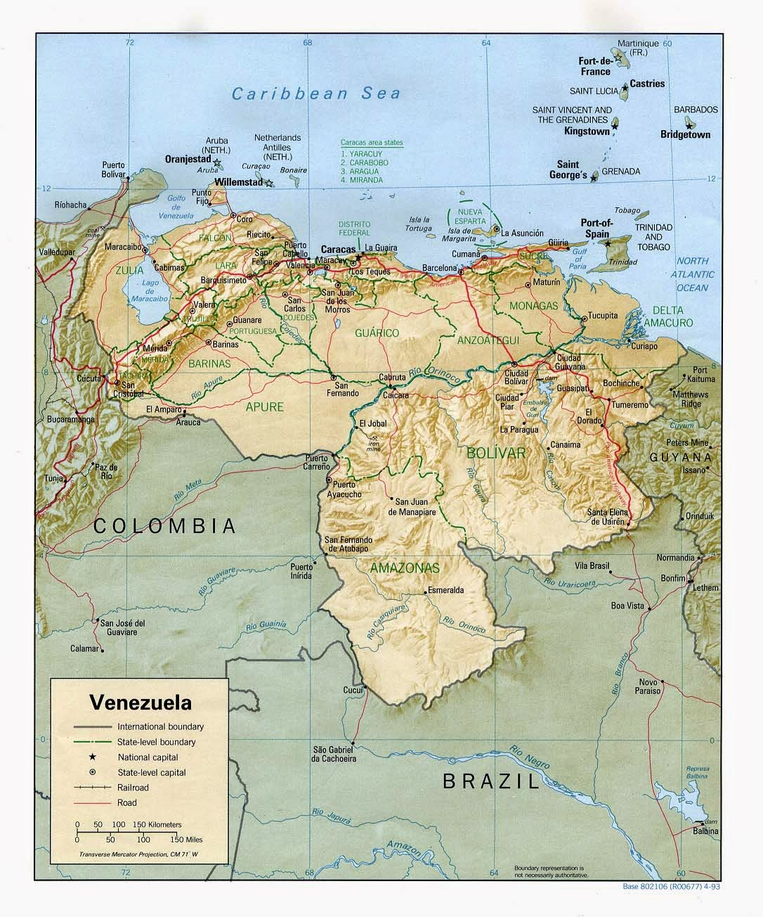 Detailed Venezuela physical map