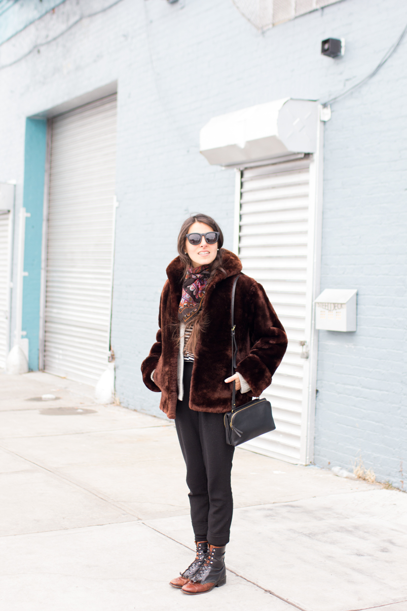 Maria Copello style blogger at notesofstyle.com wears a faux fur vintage coat in Greenpoint Brooklyn.