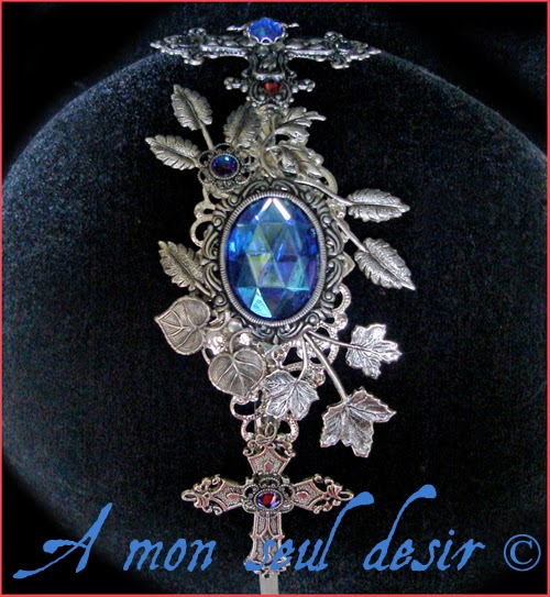 Serre-tête gothique gothic goth Croix Argent Bleu Nuit Midnight Blue silver cross Jewelry Headdress