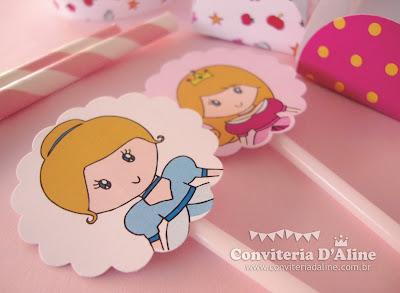 festa princesas disney rosa personalizada