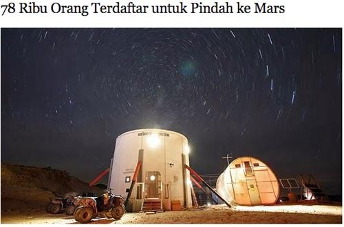 78 Ribu Orang Telah Terdaftar untuk Pindah ke Mars