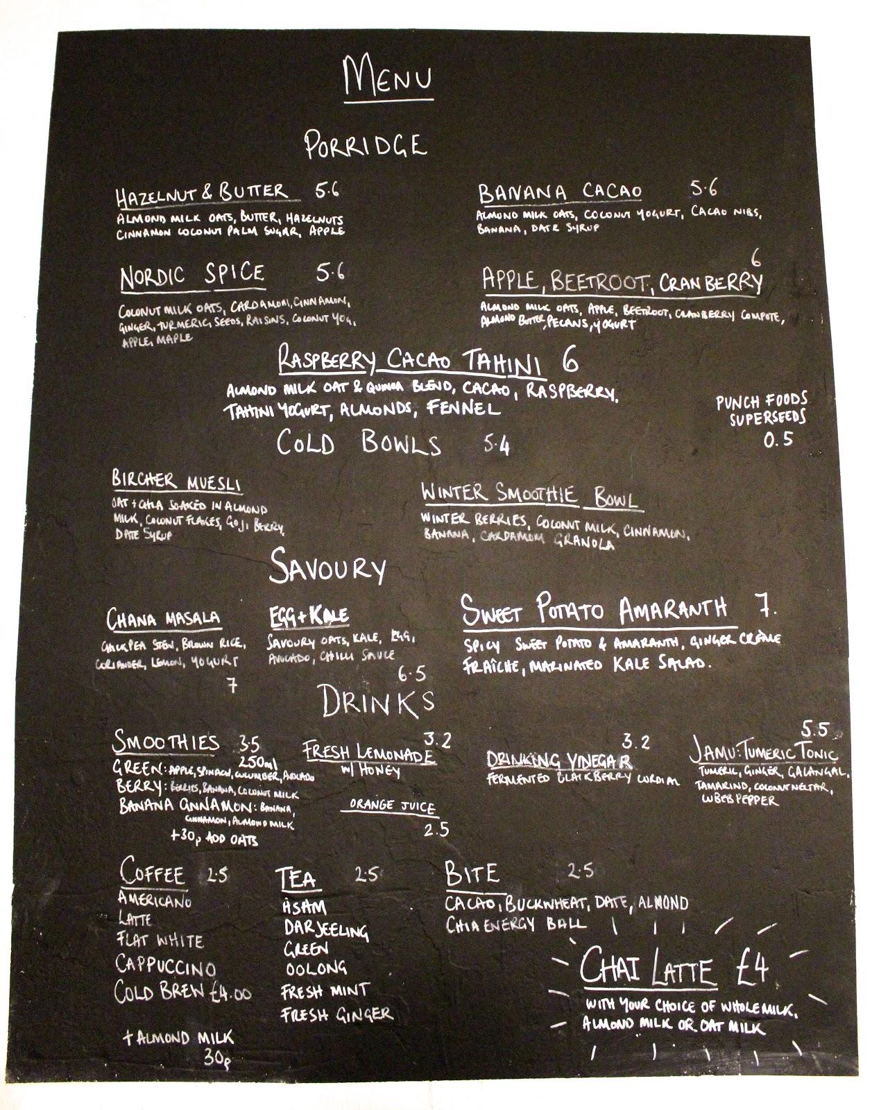 26 Grains menu   London