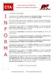 C.T.A. INFORMA CRÉDITO HORARIO CRISTOBAL NIETO, MAYO 2019