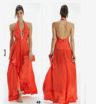 modelo de vestido longo laranja frente única