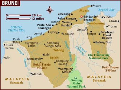 Brunei Karta Regional Städer