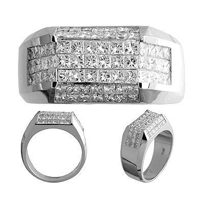 Leslie Ben Jewelry 14k White Gold Men s Diamond Ring