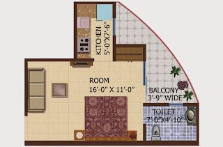 Ceyane Tower :: Floor Plans,Type C:- Studio1 Bedroom, 1 Toilet, Kitchen, Drawing, 1 Balconies Super Area - 475 Sq Ft